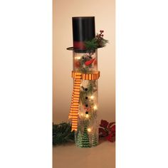 Gerson 20.5 in. Electric Crackle Glass Snowman with Wood Top Hat - 2155460