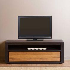 Meuble TV bas en bois Teck Sotra 1 ou 2 portes prix promo Decoclico 279.00 € TTC