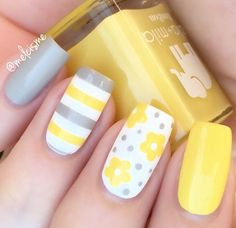 Instagram media by melcisme - Uh huh, you know what it is grey and yellow grey and yellow sway with me + limoncello @snailvinyls : Flowers & Straight vinyls #ellamila #ellamilapolish #snailvinyls