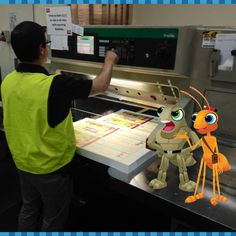November 2015: The Ant Patrol books in print at IPG Connect in Brendale, Queensland. Serge, Hopppy and the team are on hand to make sure the mission goes to plan. As usual Serge is giving the orders while the others are up to their usual ant-ics!!