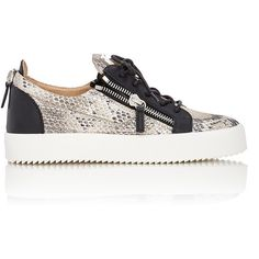 Giuseppe Zanotti Snakeskin-Stamped Double-Zip Sneakers Size ($695) ❤ liked on Polyvore featuring shoes, sneakers and colorless