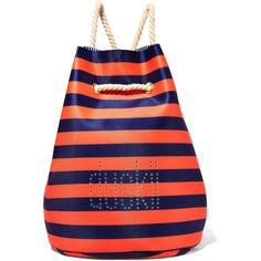 Duskii St Tropez striped perforated neoprene backpack (2,170 MXN) ❤ liked on Polyvore featuring bags, backpacks, orange, bucket bag, day pack backpack, striped backpack, striped beach bag and drawstring backpack