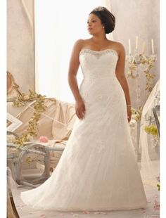 Elegant Organza Lace Stapless Plus Size Wedding Dress - Plus Size Dresses - Wedding Dresses - CDdress.com