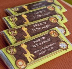 Funfari™ - Fun Safari #Jungle - Personalized Candy Bar Wrapper Baby Shower Favors