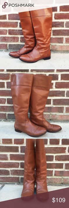 J. Crew Tall Leather Boots J. Crew Leather Boots -Size 6.5. -Hit below knee. -Leather upper. -In overall good condition.  NOTE: Leather has some staining, mostly on the inside part of the boot and at heels. Natural creasing of leather in front. (See last pic for details)   NO Trades. Please make all offers through offer button. J. Crew Shoes