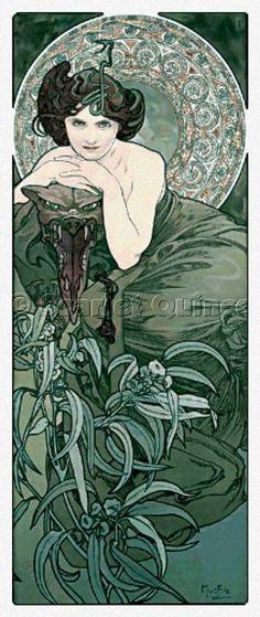 Scarlet Quince cross stitch chart: Emerald - Alphonse Mucha