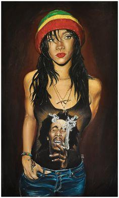 """Rasta Rihanna"" by Jeremy Worst Black Love Art, Black Is Beautiful, African American Art, African Art, Rihanna Swag, Black Artwork, Afro Art, Dope Art, Types Of Art"