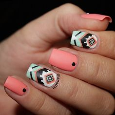 Cute tribal inspired nail art in melon, green, white and black nail polish.