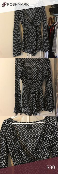 Jachs girlfriend New York romper from Saks Dark navy blue and white romper with bell sleeves. Great fit, only worn once. Light material Perfect for a summer night Jachs Other