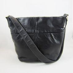 Perlina New York Black Leather Bucket Style Shoulder Bag MINT