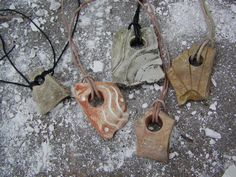 """Lab Art: """"PRIMITIVES: PENDANTS"""" ~ Salvaged, and transformed, cast-off plaster from Orthotic & Prosthetic lab(s). created: 2002 Jo Ann Smith-Young"""