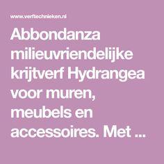 Abbondanza milieuvriendelijke krijtverf Hydrangea voor muren, meubels en accessoires. Met extra krijt en hoogwaardige pigmenten, voor een poedermat effect en intense kleuren. Accessories