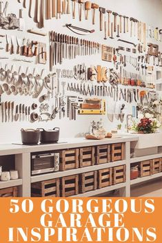 Find out 13 garage organization steps to maximize your garage and organize all your stuff. We'll explore 50 amazing garages with tons of unique storage ideas and I will tell you where you can get everything. The last tip may surprise you! Garage Storage Solutions, Diy Garage Storage, Bike Storage, Tool Storage, Workshop Organization, Garage Organization, Organization Ideas, Garage Storage Inspiration, Overhead Storage Rack