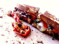 Vegan Grilled Cheese Sandwich: Havarti With Roasted Tomato, Garlic, and Basil on Pumpkin Sage Boulot