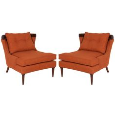 Pair Of Erwin Lambeth Lounge Chairs In Burnt Orange Linen