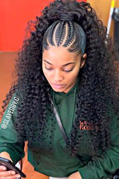 Cornrows Into Loose Ponytail #braidedhairstyles #ponytailhair ★ For natural-haired goddesses, cornrows are like a little black dress for every stylish lady. All styles touched by cornrow braids turn to trends: see how to rock one! Sophisticated half updos, simple yet gorgeous updo hairstyles, side lemonade braids, and creative braided ponytail ideas are here! #glaminati #lifestyle #cornrows