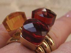 qudo Ring * echt vergoldet Gelbgold * Rot ruby Orange Gelb yellow  *