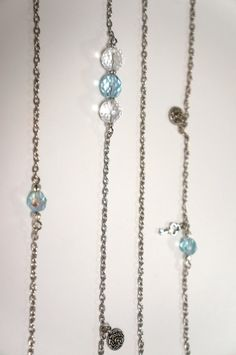 Extra Long Baby Blue Glass and Crystal Necklace  by LinksLocks, $20.00