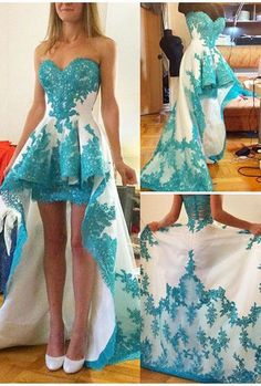 Blue Lace Applique Prom Dresses,High Low White Prom Dresses,Ruffles Sweetheart Neck Prom Dresses,Sweep Train Evening Dresses for Teens
