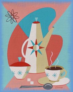 COFFEE Eames Era coffee set. Mid Century modern living. This is a limited edition (200 prints) print by Linda Tillman. It is a print of an original gouache painting. Prints are all printed on archival matte paper. They are printed with a Canon iX6500 printer. It has a border. The edges of the composition fade softly into white as they do on the original painting. The print will fit a standard pre-cut matte for easy framing. The size is 14 x 11 inches Each print is titled, numbered, and si...
