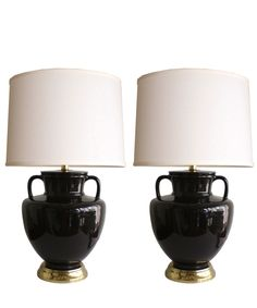 Pink retro shaped ceramic table lamp ebay rockabilly rehab vintage pair of black ceramic table lamps mozeypictures Images