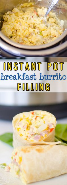 Instant Pot Breakfast Burritos are an easy way to make breakfast burritos for a crowd! Simple ingredients like frozen O'Brien Hash browns, Diced Ham, and Eggs are thrown in the Instant Pot to cook without babysitting! |Cooking with Karli| #breakfast #Instantpot #pressurecooker #breakfastburrito #hashbrowns #eggs #recipe