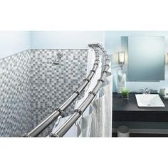 $46 - PAID - MOEN, 60 in. Stainless Steel Adjustable Double Curved Shower Rod in Chrome, DN2141CH at The Home Depot - Tablet