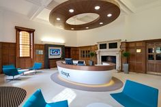 Citrix Office reception by Area Sq- Furniture; suspended ceiling feature