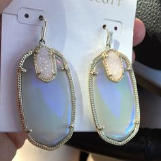 Iridescent slate Darcy's Iridescent slate Darcy's in excellent condition! Looking to trade for a neon pink rayne! Kendra Scott Jewelry Earrings