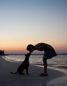 Kai the pit bull and her owner, on the beach at sunset - © Allison Shamrell Photography