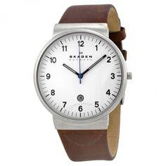 Skagen Ancher White Dial Brown Leather Men's Watch SKW6082