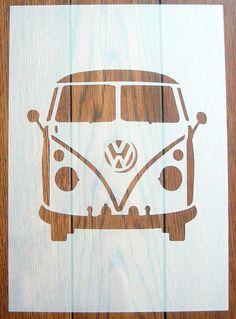 Vw Camper Van Front Stencil Mask Reusable Mylar Sheet For Arts & Crafts Stencil Art, Stencil Designs, Stencils, Bus Art, Diy And Crafts, Arts And Crafts, Car Drawings, Vw Camper, Valentines Diy