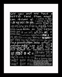 great birthday gift idea  Dave Matthews Band Lyrics 11 x 14 Print by framedletterart on Etsy, $28.00