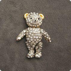 Vintage Rhinestone Brooch Bear Jointed P4947 by PurpleDaisyJewelry, $28.00