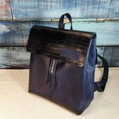 aa96d5fcc538 leather backpack dark blue satchel vintage leather. sandra de sallee