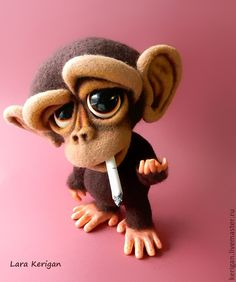 *NEEDLE FELTED ART ~ Toys are animals, handmade. Fair of Masters - handmade. New Year, monkey, chimpadze Monkey Wallpaper, Smile Wallpaper, Funny Phone Wallpaper, Dope Wallpapers, Cute Cartoon Wallpapers, Marvel Wallpaper, Disney Wallpaper, Monkey Art, Funny Caricatures