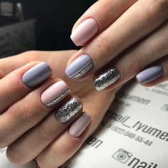 Pink purple silver nails