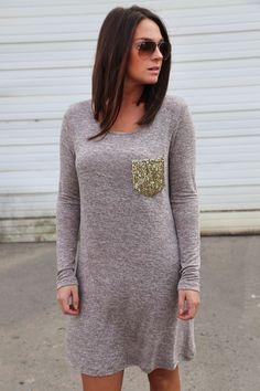 Sequin Pocket Dress {Mocha}