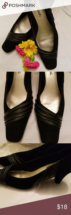 Easy street heels Very stylish Black suede heels that have super flex so they're comfortable too! Shoes Heels