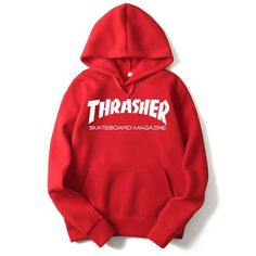 RUMEIAI New Fleece Autumn Winter Trasher Men's Hoodies Streetwear Skateboard Hip hop Hoody Thrasher Sweatshirt Men Women Sweat