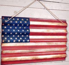 Corrugated Metal American Flag Wall Art