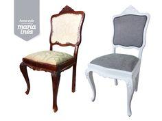 Uma cadeira Queen Ann que ganhou novo look, com um acabamento decapé, e lugar de destaque no quarto da Ritinha - Reciclagem para Cliente.