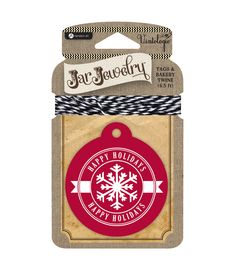 Jar Jewelry Tags with Twine-Happy Holidays | Perfect for recipe mason jar gifts and mason jar cookie gifts!