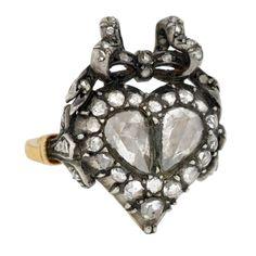 1stdibs - Georgian Rose Cut Diamond Heart & Bow Ring explore items from 1,700  global dealers at 1stdibs.com