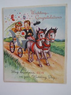 Vintage 1950s WEDDING Greeting Card - Bride Groom Horse Carriage - UNUSED NOS FOR SALE • $9.00 • See Photos! Money Back Guarantee. Are you looking for a fun vintage card for a couple that is getting married soon? This fabulous vintage greeting card from the 1950's is just too cute and just 332112043191