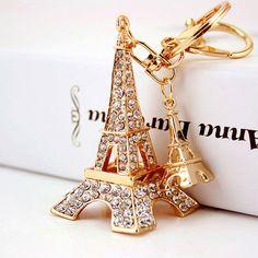 Francia París Torre Eiffel Modelo de Llavero para Las Mujeres Bolsa de diamantes de Imitación Colgante de Bolso llaveros Llaveros Colgantes mujer PWK0717