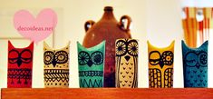 craft paper roll painted owls from decoldeas