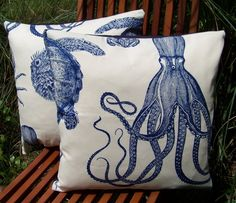 Two Thomas Paul Oceania Pillow Covers 18 x 18 Octopus Crab Turtle Lobster Sea Life Decor In Cobalt Blue/Cream/NavyTwill Ready to Ship. $59.99, via Etsy.