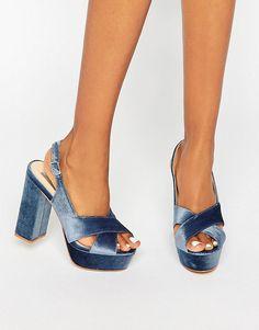 Image 1 of Daisy Street Blue Crushed Velvet Platform Heeled Sandals