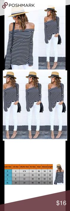 "Black & White Cold Shoulder Tee Long sleeve boat neck casual tee. Baby bell sleeves 5"" size slit. This Tee runs small I recommend sizing up one size. Price is firm unless bundled. Haute Ellie Tops Tees - Long Sleeve"